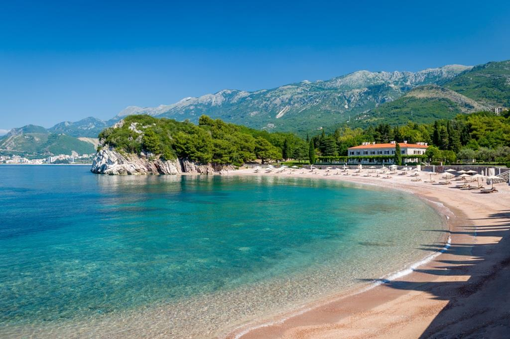 Perfect sand beach in Budva, Montenegro